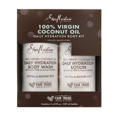SheaMoisture Virgin Coconut Oil Body Wash & Lotion Holiday Gift Set - 2pc