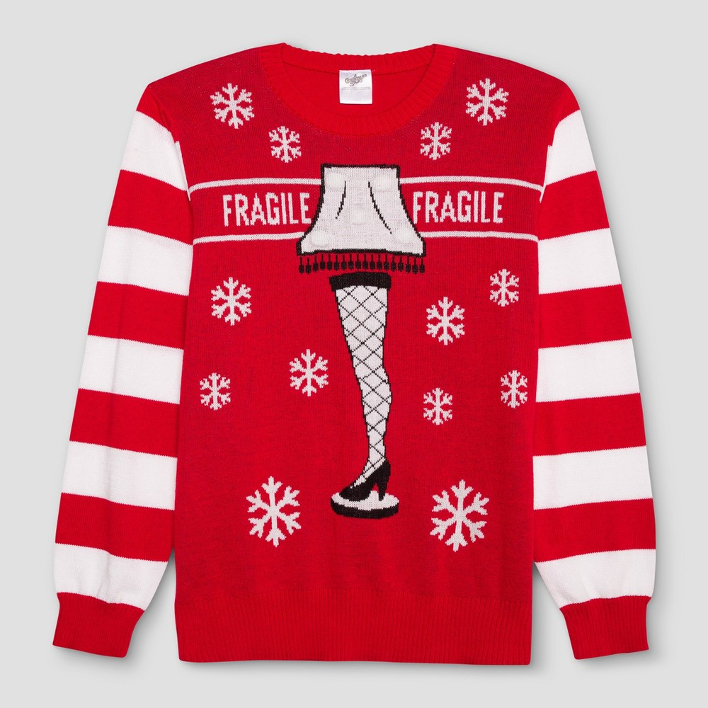 Mens Big & Tall A Christmas Story Ugly Holiday Light-Up Leg Lamp Sweater - Red Xlt