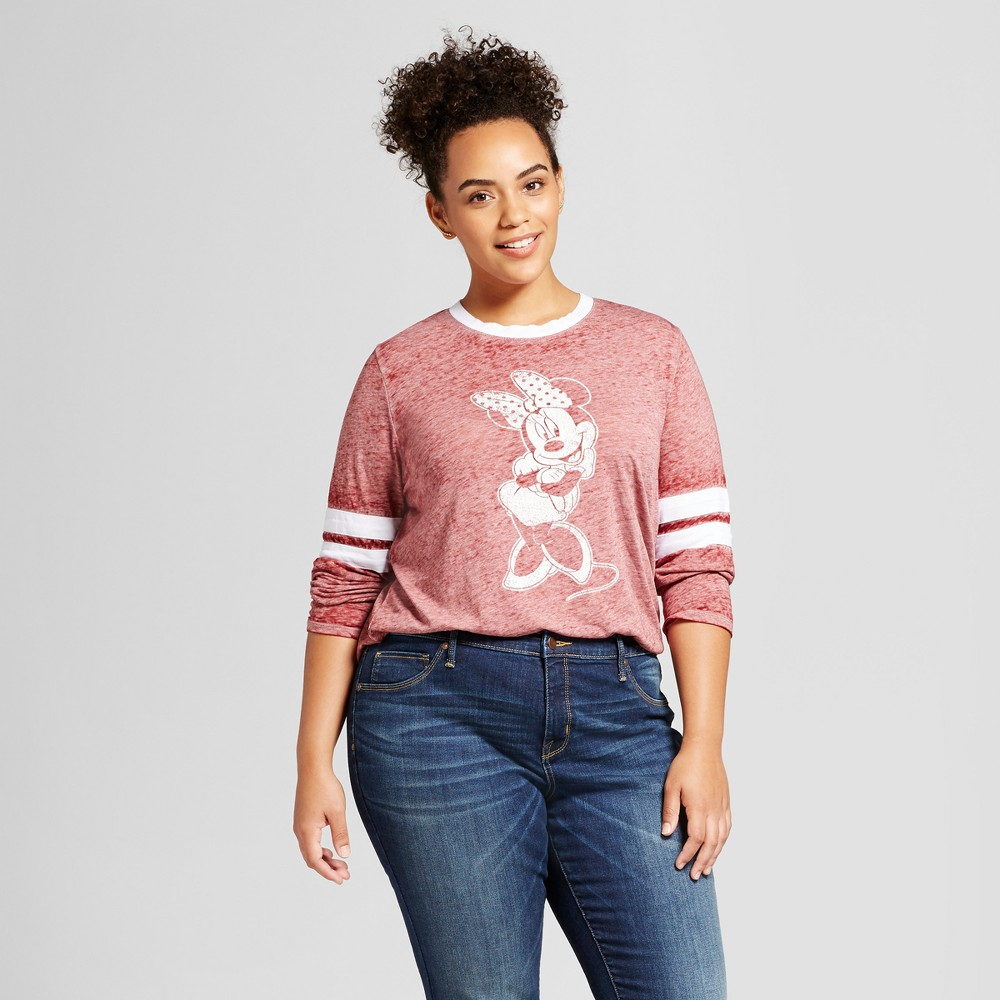 Womens Plus Size Minnie Mouse Long Sleeve Varsity Graphic T-Shirt Burgundy 2X, Red