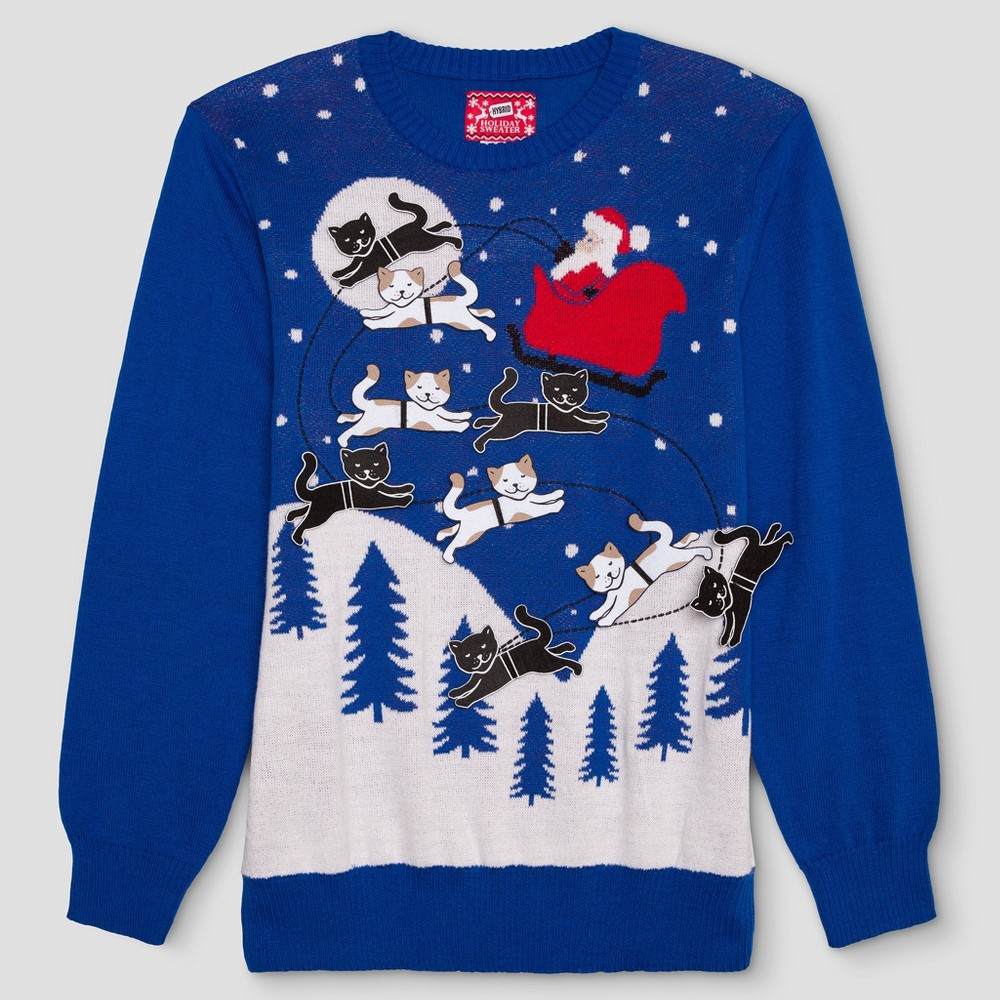 Mens Big & Tall Ugly Holiday Santa with Felt Cats Sweater - Blue 5XLT, Size: 5XL Tall