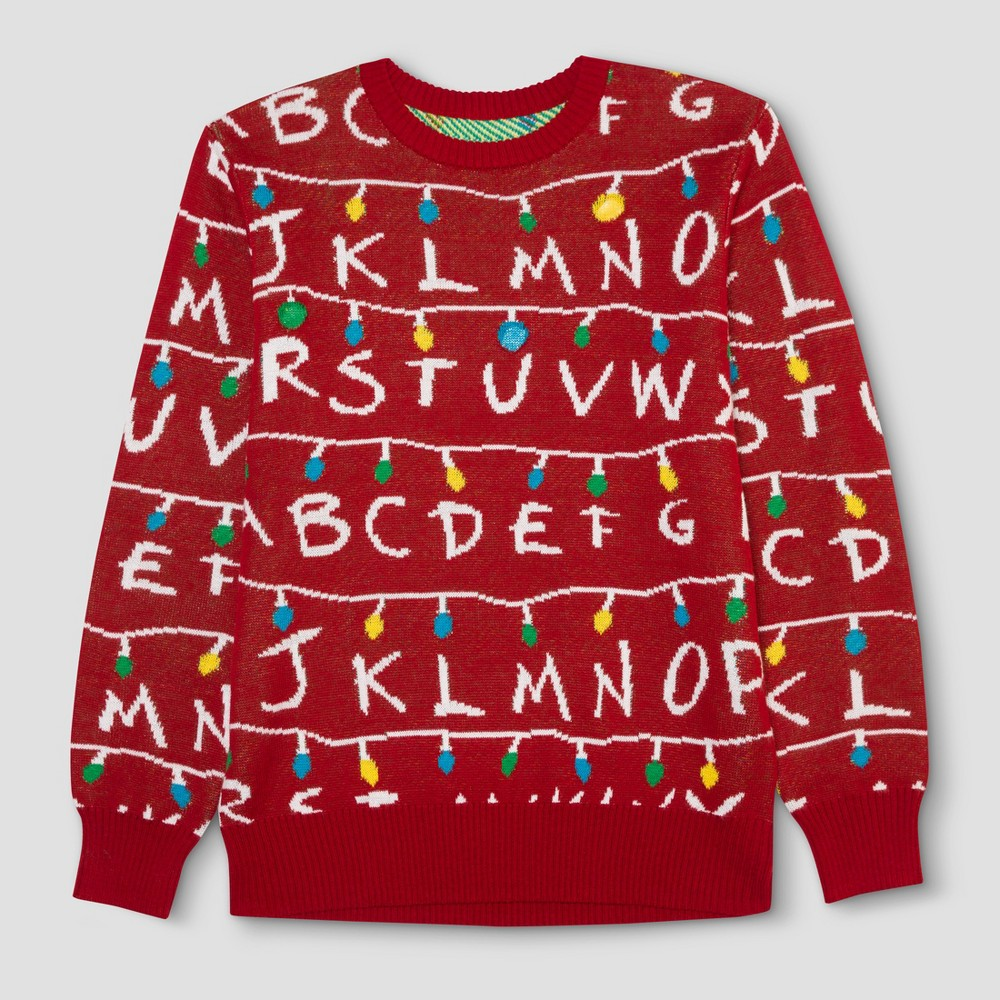 Mens Big & Tall Stranger Things Ugly Holiday Light-Up Sweater - Red LT