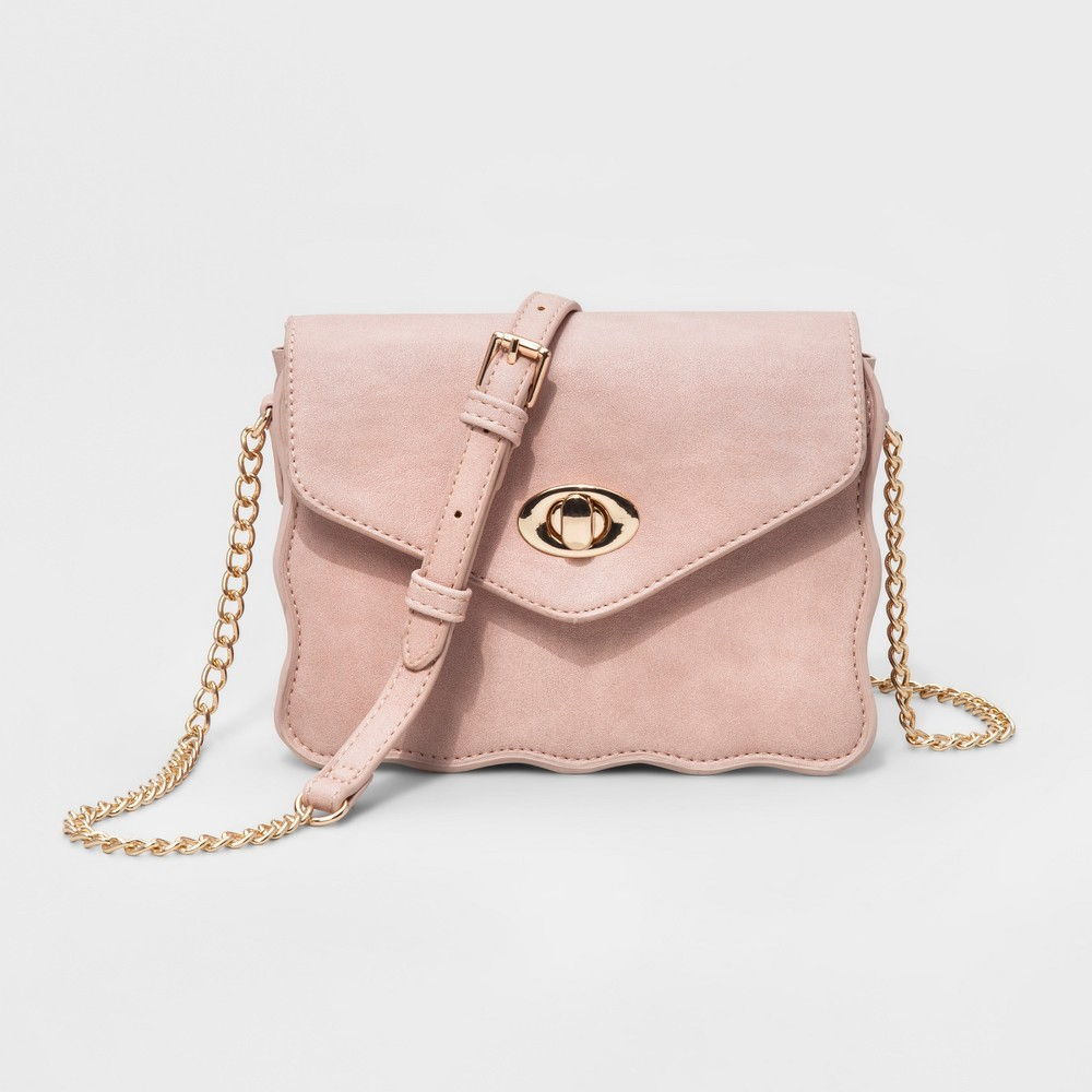 Womens Faux Leather Mini Crossbody Bag - Antique Pink, Size: Small