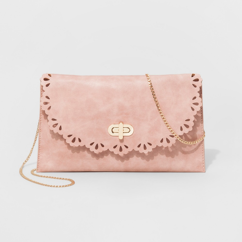 Womens Laser Cut Faux Leather Clutch - Ballerina Pink