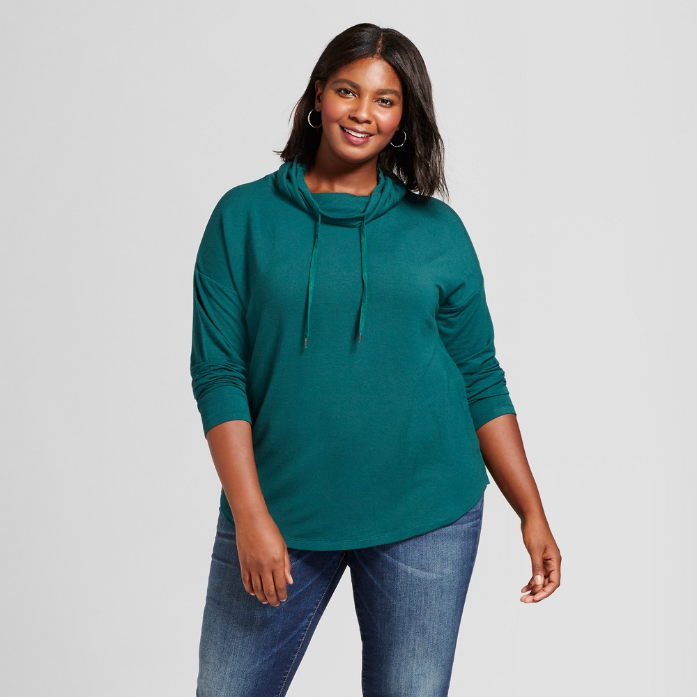 Womens Plus Size Drapey Cowl Tunic - A New Day Country Clover 2X