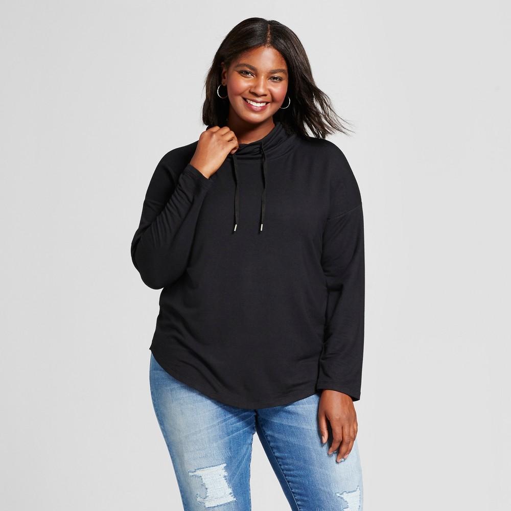 Womens Plus Size Drapey Cowl Tunic - A New Day Black 1X