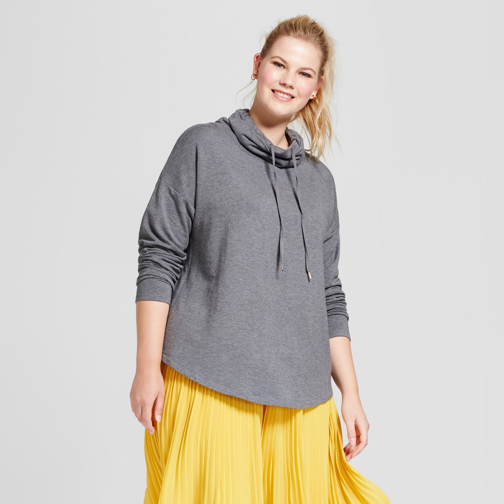Womens Plus Size Drapey Cowl Tunic - A New Day Heather Gray 3X