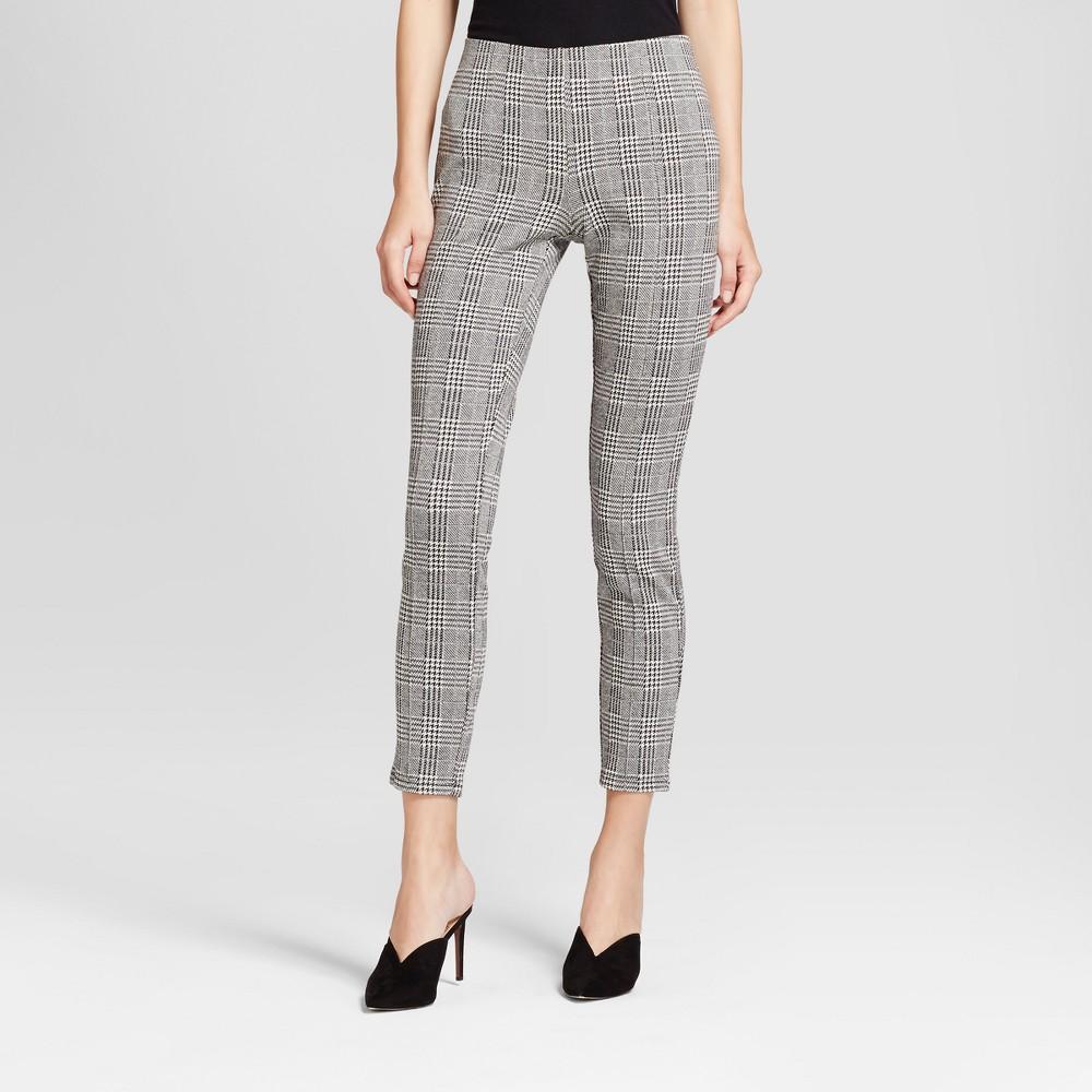 Womens Plaid Leggings Trousers - Mossimo Gray M, Black