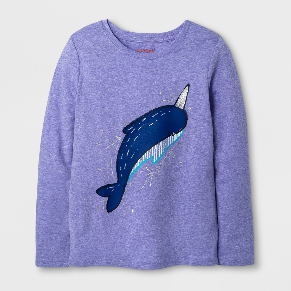 Girls Long Sleeve Narwhal Graphic T-Shirt - Cat & Jack Purple XL
