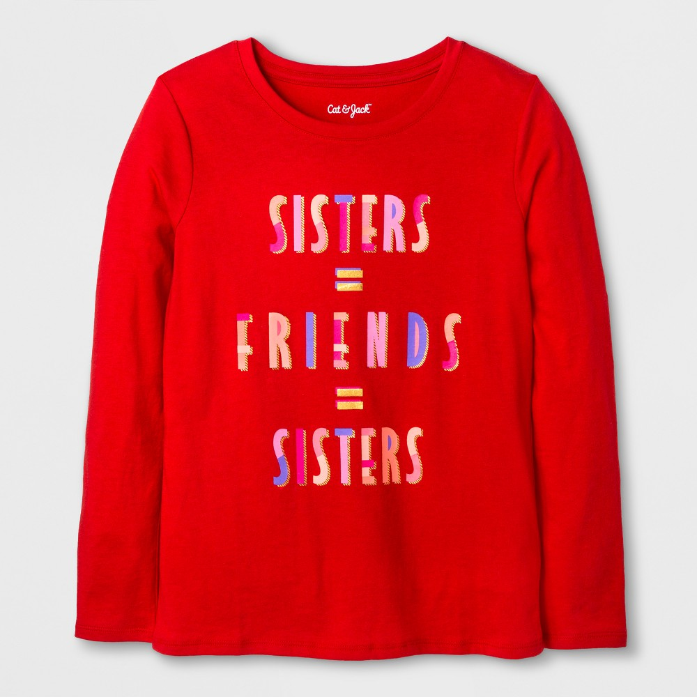 Girls Long Sleeve Sisters Graphic T-Shirt - Cat & Jack Red S