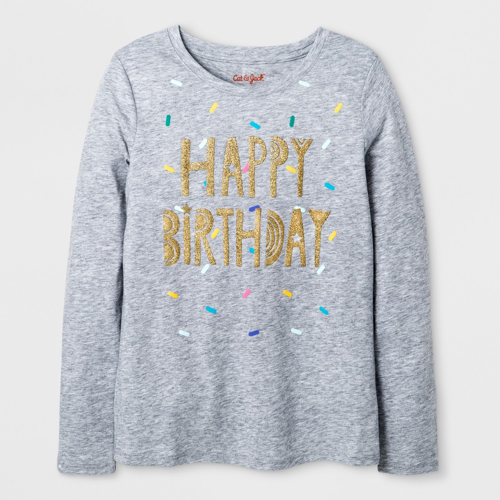 Girls Long Sleeve Happy Birthday Graphic T-Shirt - Cat & Jack Heather Gray XS