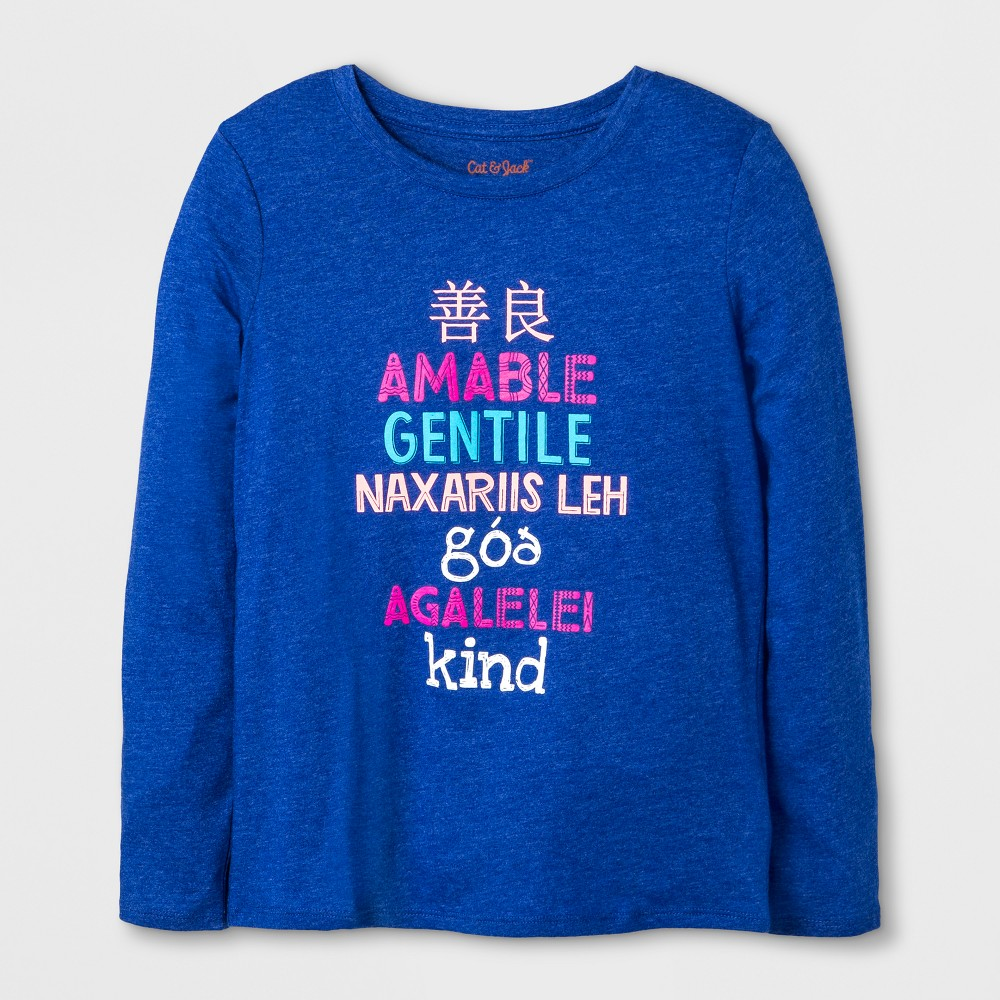 Girls' Long Sleeve Kind Graphic T-Shirt - Cat & Jack Blue XS