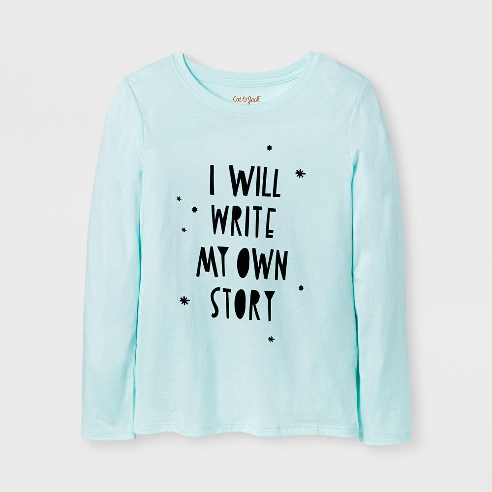 Girls Long Sleeve Write My Own Story Graphic T-Shirt - Cat & Jack Aqua L, Green