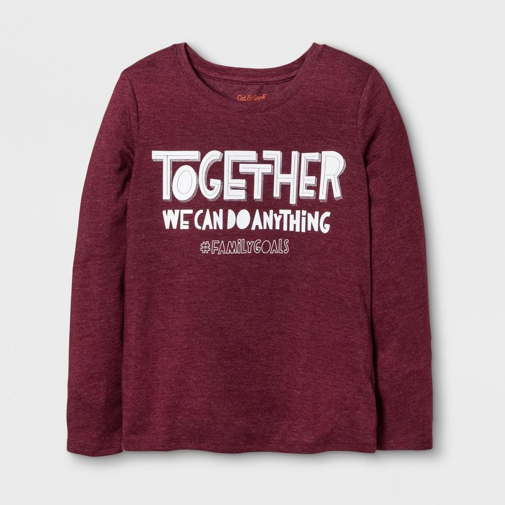 Girls Long Sleeve Family Goals Graphic T-Shirt - Cat & Jack Burgundy L, Red