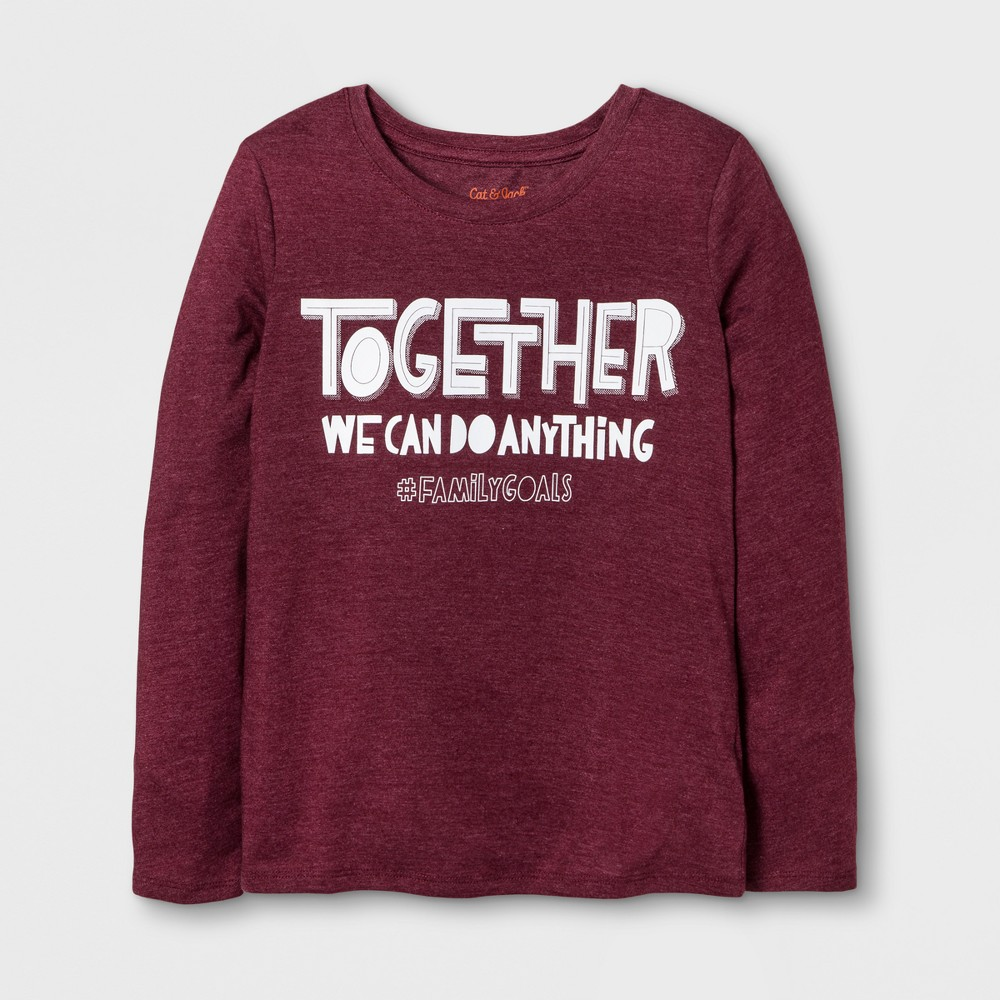 Girls Long Sleeve Family Goals Graphic T-Shirt - Cat & Jack Burgundy XS, Red