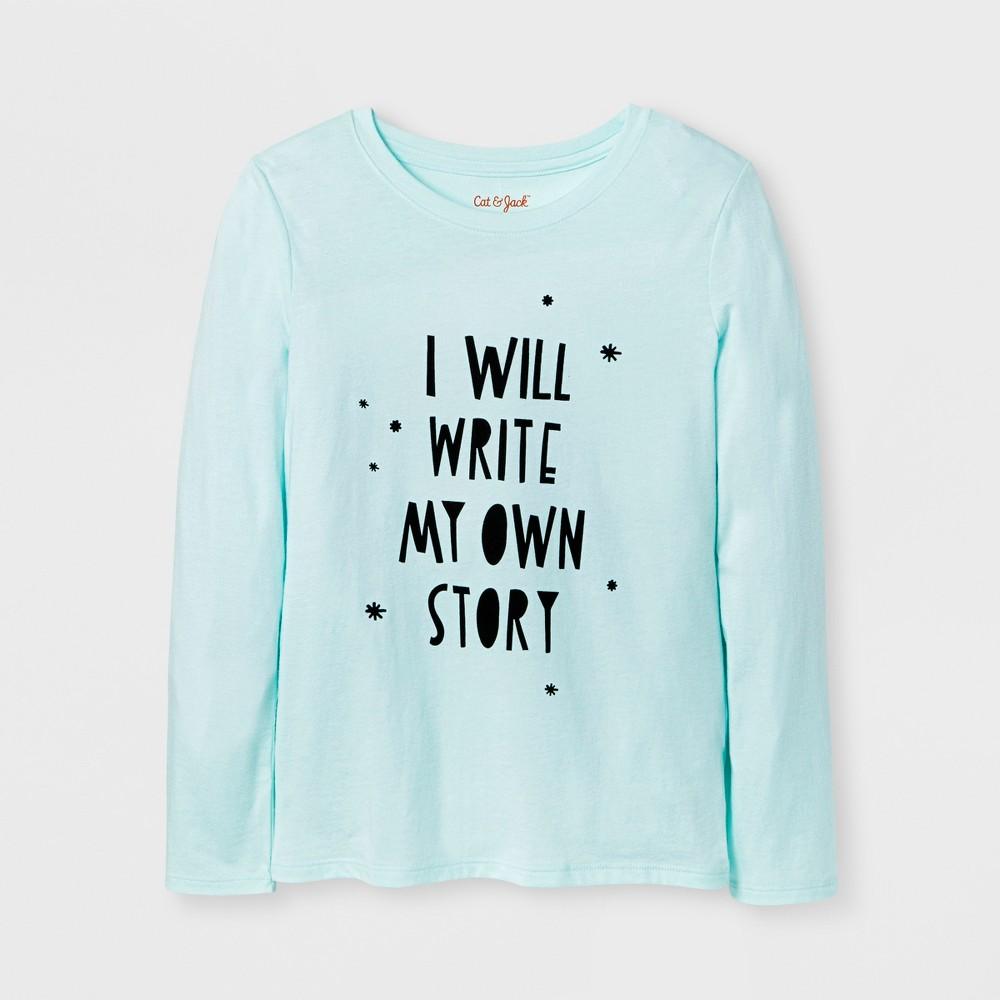Girls Long Sleeve Write My Own Story Graphic T-Shirt - Cat & Jack Aqua M, Green