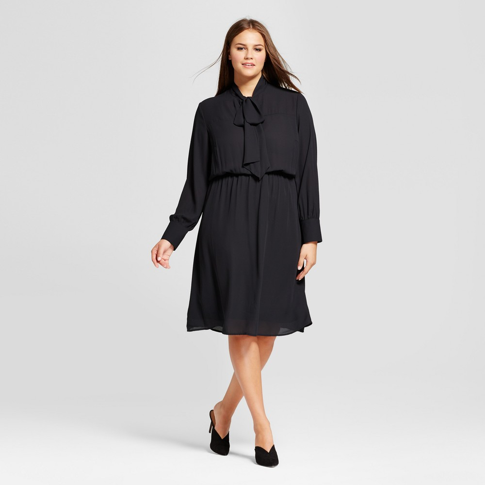 Womens Plus Size Bow Tie Midi Dress - Who What Wear Black 3X