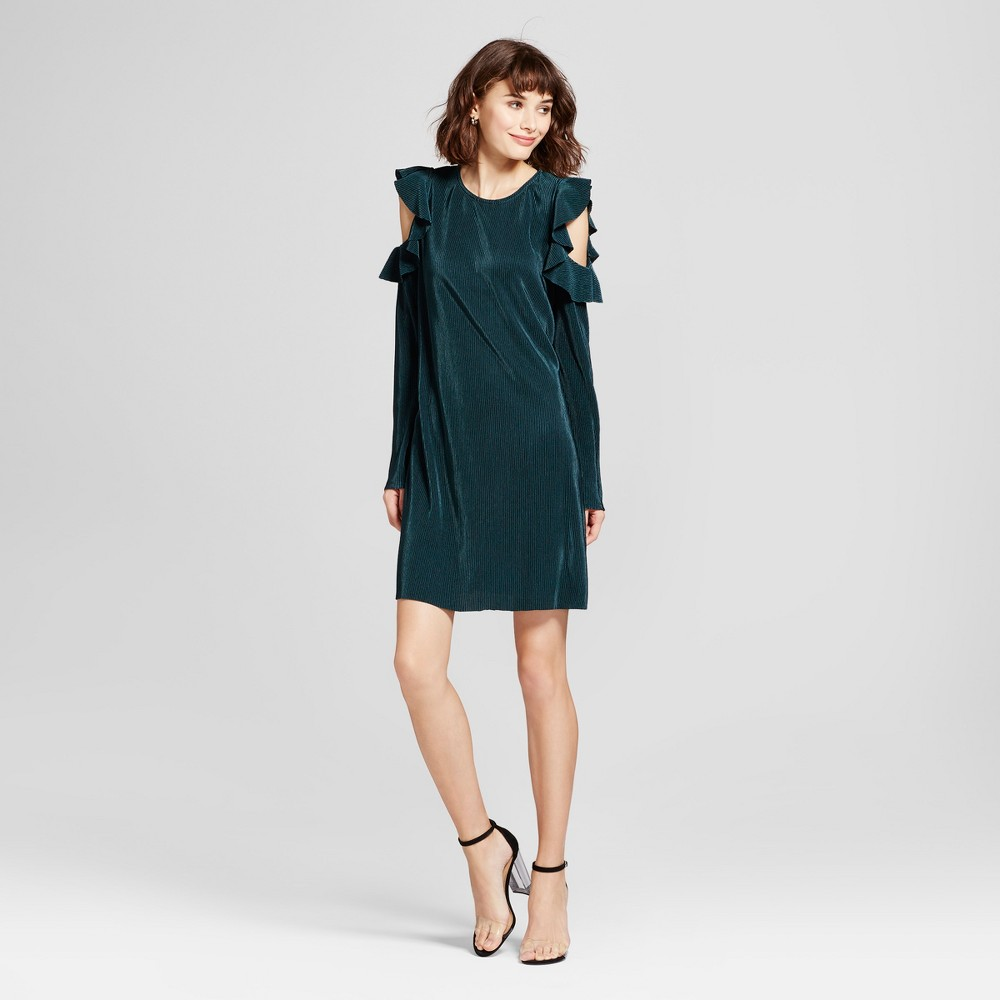 Womens Ruffle Cold Shoulder Sheath Dress - Mossimo Teal S, Green