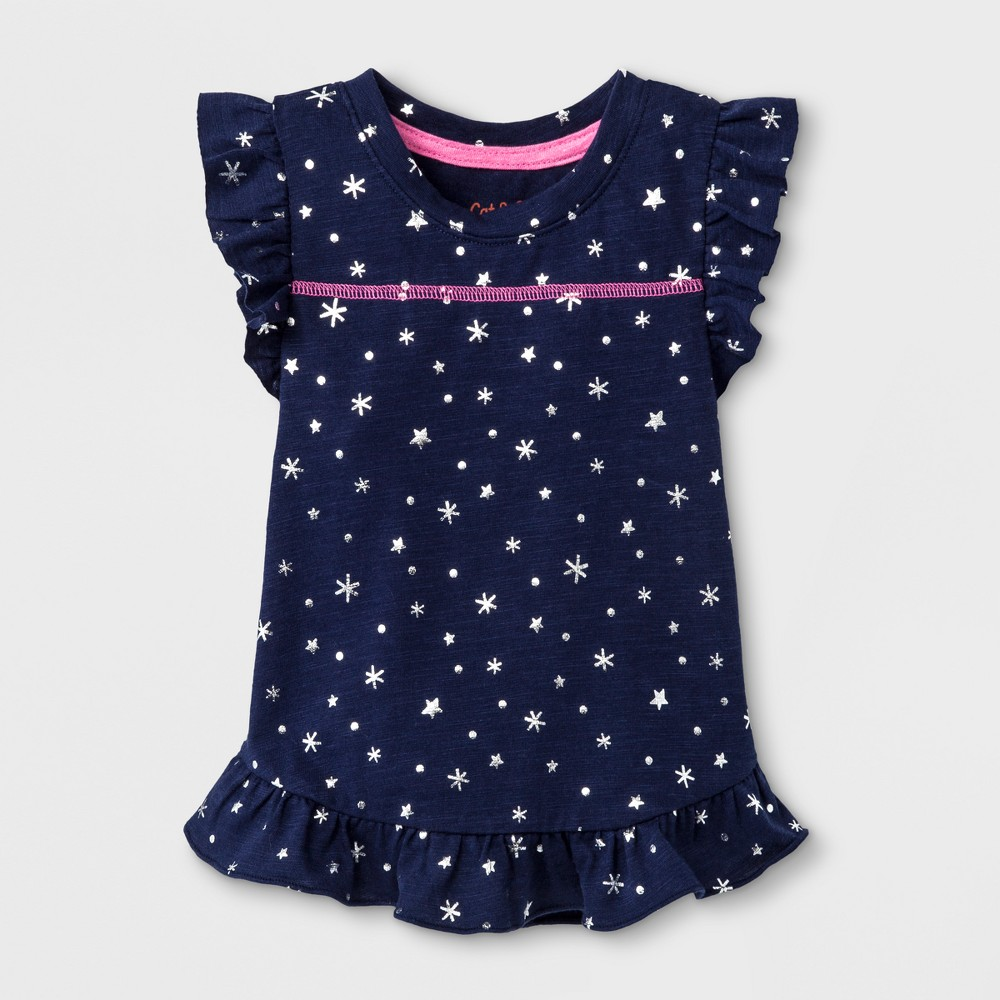 Toddler Girls Sleeveless Stars Tank Top - Nightfall Blue 3T