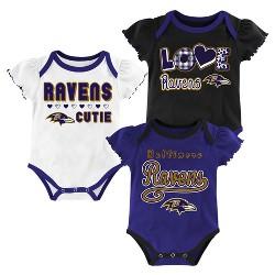 Baltimore Ravens Baby Girls' 3pk Bodysuit Set