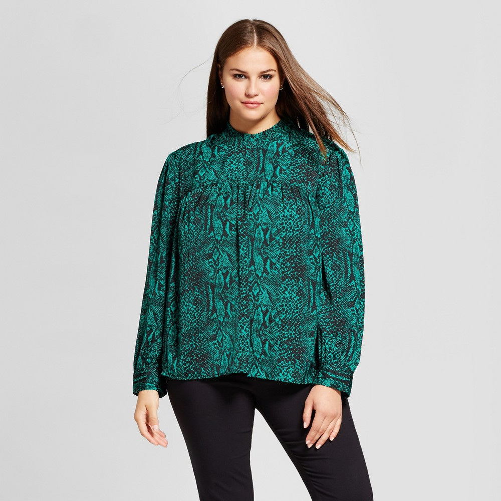 Womens Plus Size Long Sleeve Silky Doll Blouse - Who What Wear Green 1X
