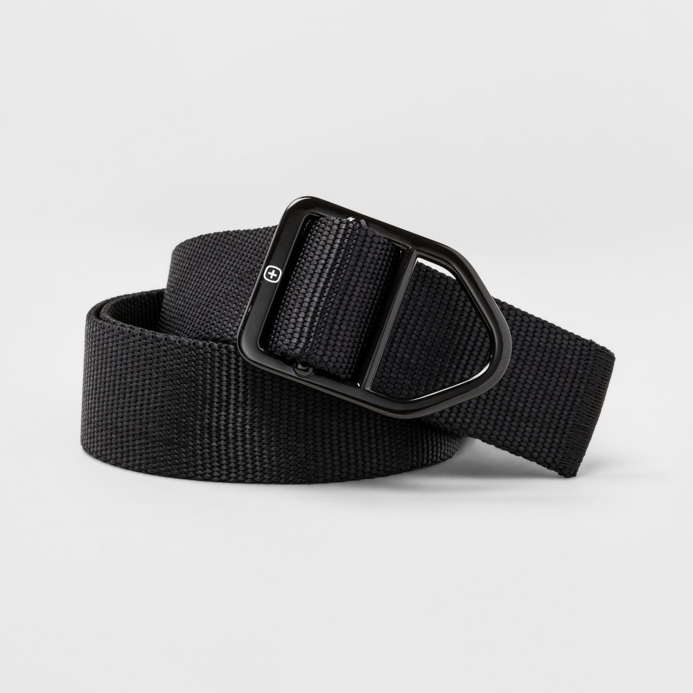Mens Swiss Gear Buckle Nylon Belt - Black M