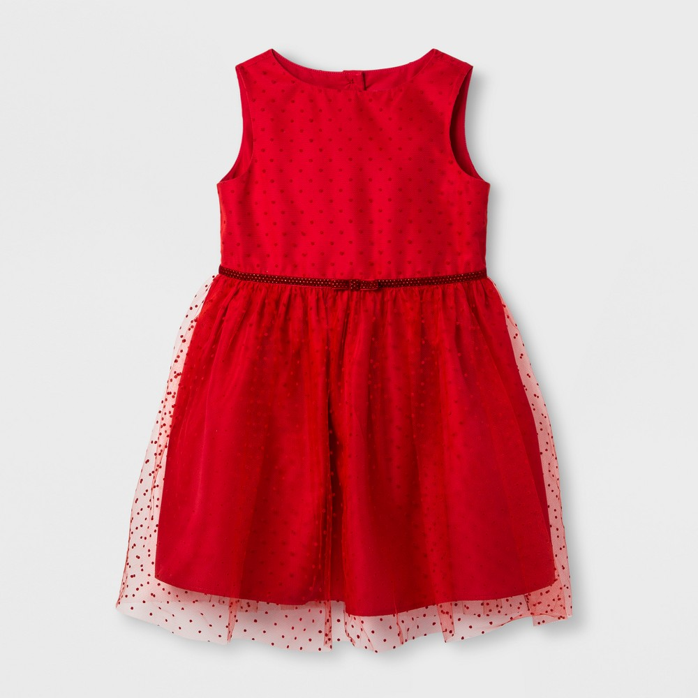 Toddler Girls Red Flock Dot Dress Set Cat & Jack - Red 12M, Size: 12 M