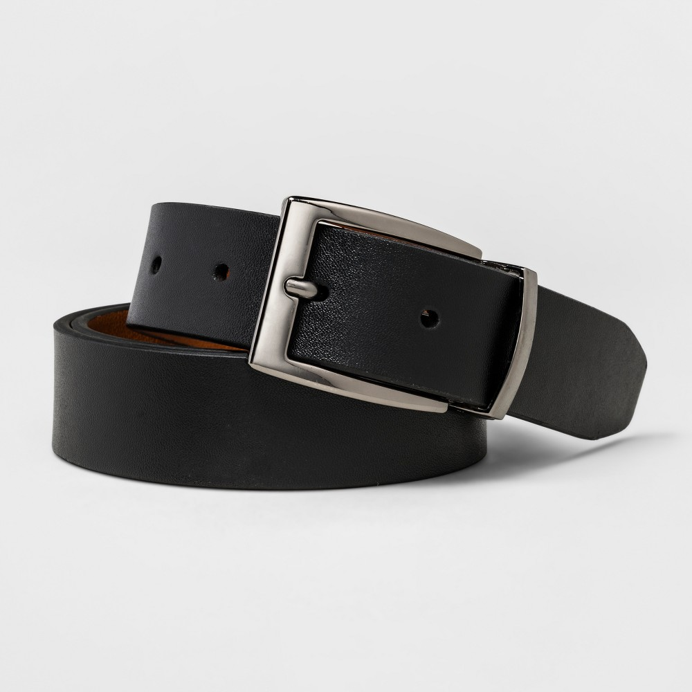 Mens Swiss Gear Textured Reversible Polished Gun Metal Buckle Belt - Black/Brown XL