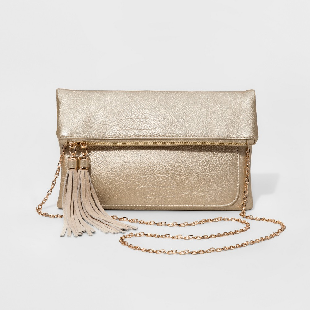 Womens Faux Leather Fold Over Clutch with Genuine Suede Tassels - Gold