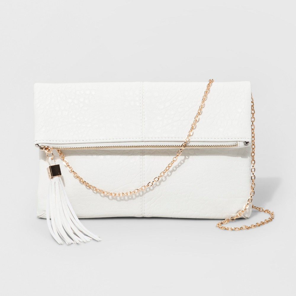 Womens Faux Leather Fold Over Clutch with Crossbody Chain - White/Gold