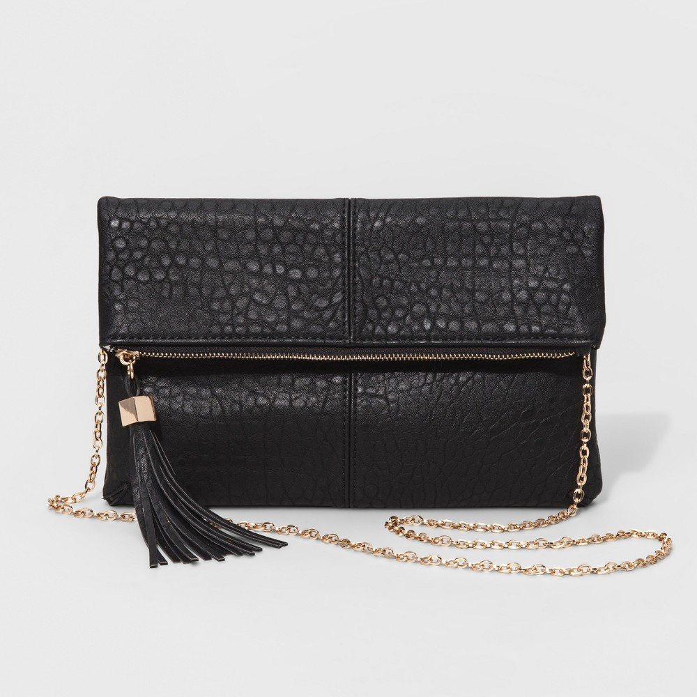 Womens Faux Leather Fold Over Clutch with Crossbody Chain - Black/Gold