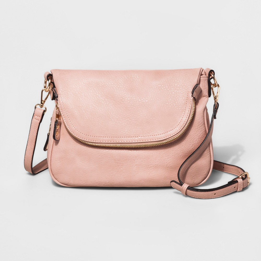 Womens Faux Leather Fold Over Zip Crossbody Bag - Blush