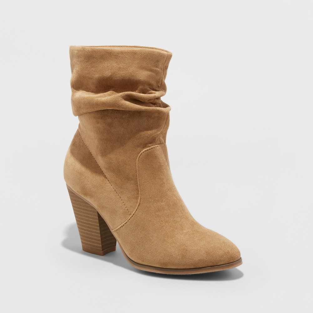 Womens Cristina Heeled Scrunch Booties - Mossimo Supply Co. Taupe 8, Gray