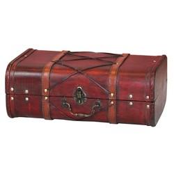 Antique Cherry Wooden Suitcase with Leather X Design - Antique Cherry - Vintiquewise