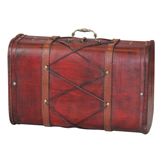 Antique Cherry Wooden Suitcase with Leather X Design - Antique ...