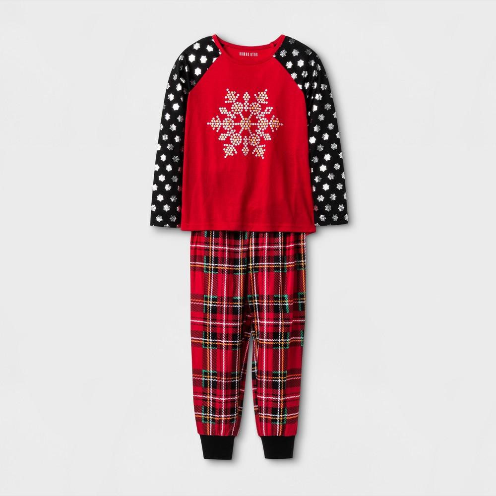 Komar Kids Toddler Girls Snowflake 2 Piece Pajama Set - Red Plaid XL