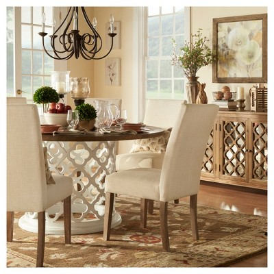 Roslyn Reclaimed Wood Quatrefoil Detail Dining Table   Antique White    Inspire Q