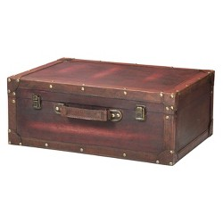 Vintage Style Brown Wooden Suitcase with Leather Trim - Vintage Brown - Vintiquewise