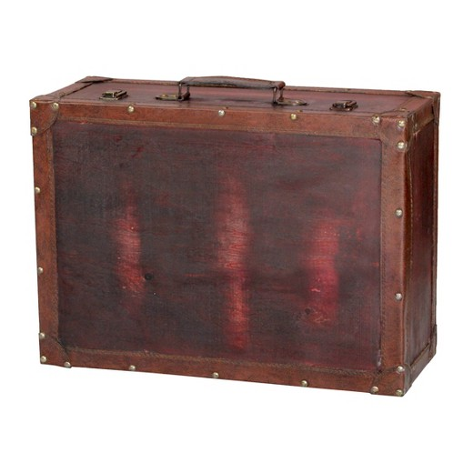 Vintage Style Brown Wooden Suitcase with Leather Trim - Vintage ...