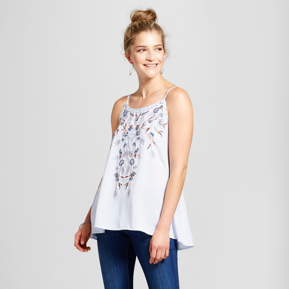 Womens Embroidered Tank - Knox Rose Soft Blue L