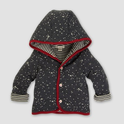 Baby Organic Snap Front Hooded Reversible Jacket - Burt's Bees Baby Coal Heather 3-6M