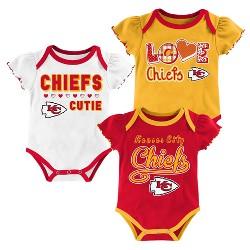 Kansas City Chiefs Baby Girls' 3pk Bodysuit Set