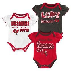 Tampa Bay Buccaneers Baby Girls' 3pk Bodysuit Set