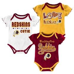 Washington Redskins Baby Girls' 3pk Bodysuit Set