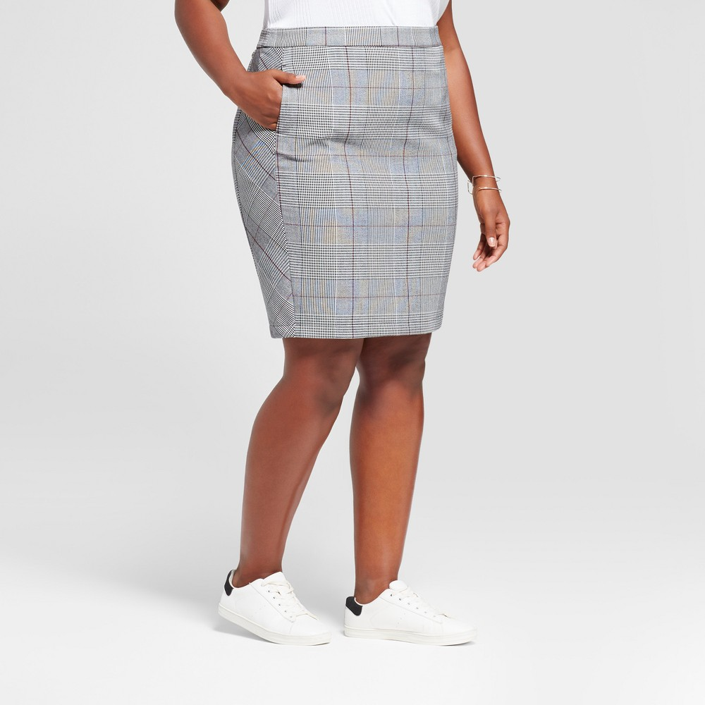 Womens Plus Size Plaid Pencil Skirt - A New Day Gray 20W