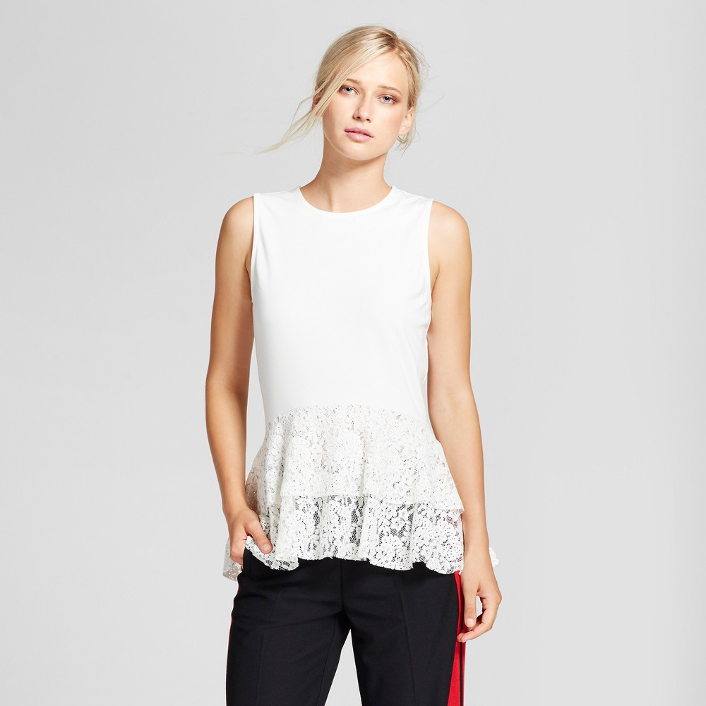 Womens Lace Mix Layered Tank Top - Who What Wear White L