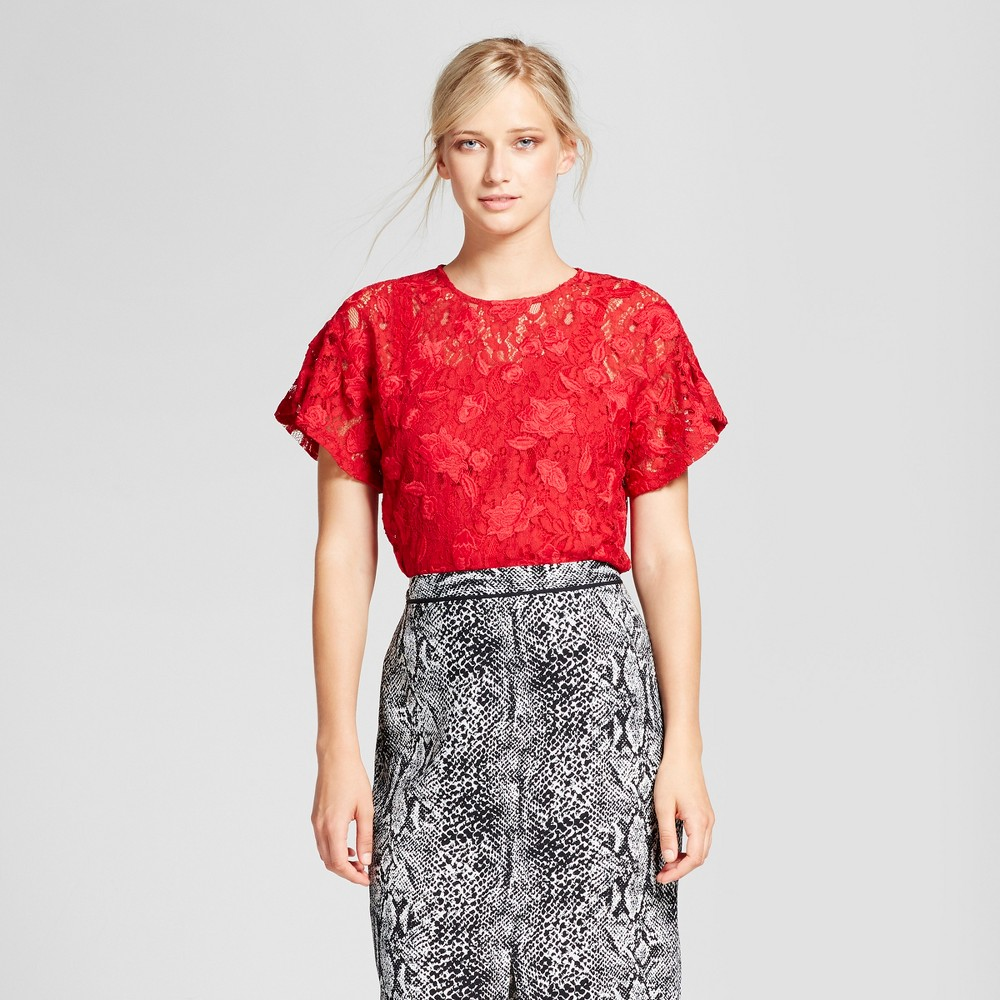 Womens Lace T-Shirt - Who What Wear Red S