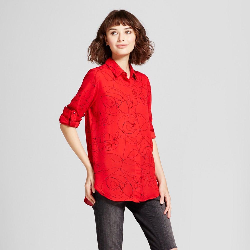Womens Convertible Sleeve-Print Blouse - Mossimo Red XS