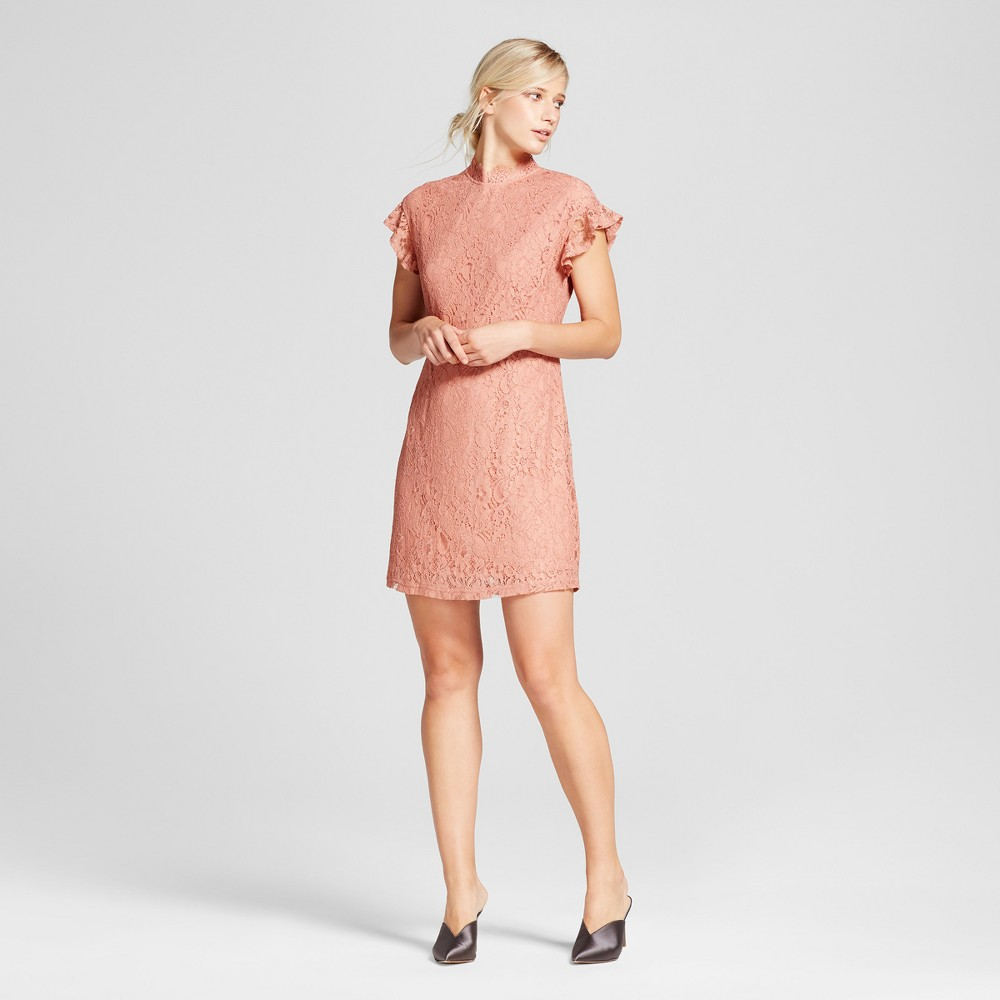 Womens Lace Flutter Sleeve Dress - Who What Wear Pink XL