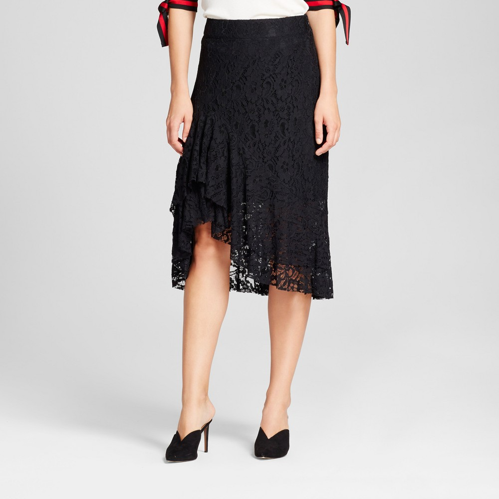 Womens Fluted Lace Skirt - Who What Wear Black 8