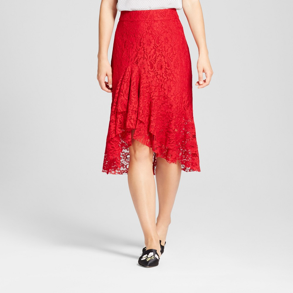 Womens Fluted Lace Skirt - Who What Wear Red 10
